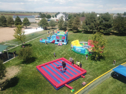 Bouncing kids party with drone videography